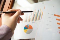 Den manliga handen som pekar på diagram, skrivev ut på ett vitt ark av papper under ett affärsmöte Arkivbild