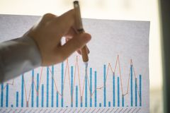Den manliga handen som pekar på ett färgat kolonndiagram, skrivev ut på ett vitt ark av papper under ett affärsmöte Arkivfoton