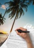 Den manliga handteckningsbilden från fotoet med en penna Royaltyfria Bilder