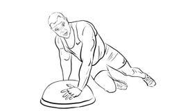 Den manliga idrottsman nen spelar sportar med special utrustning royaltyfri illustrationer