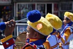 Den manliga musikbandmedlemmen spelar valsen under stadfestlighetprocession royaltyfri bild