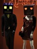 Den manliga och kvinnliga skyltdockan med maskeringar klädde innegrej Arkivbilder