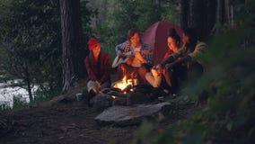 Den manliga turisten spelar gitarren, medan hans avkopplade vänner är lyssna och kasta vedträ i lägereldsammanträde stock video
