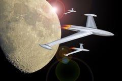 Den Manned utrymmebeskickningen till fördärvar galaxen för utrymme för resan för utforskning för flygraketrymdskepp stock illustrationer