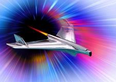 Den Manned utrymmebeskickningen till f?rd?rvar galaxen f?r utrymme f?r resan f?r utforskning f?r flygraketrymdskepp stock illustrationer
