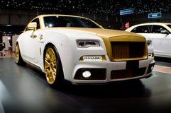 Den Mansory Rolls Royce vålnaden gömma i handflatan upplaga 999 på Genève 2016 Royaltyfria Bilder