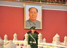 den mao soldatfyrkanten tienanmen zedong Arkivfoton