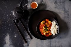 Den Mapo doufuen eller den Mapo tofuen är en populär kinesisk maträtt från det Sichuan landskapet royaltyfri foto