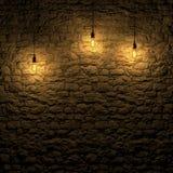 Den markerade stenväggen vid tolkningen för edison lampa 3d Arkivfoton