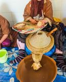 Den marockanska kvinnan visar argankärnor och satte dem in i molar, Marocko royaltyfri foto