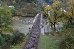 Den massiva järnvägsbron över floden, Georgia Arkivfoton