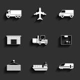 Den medel-, transport- och logistikvektorn sänker symboler. stock illustrationer