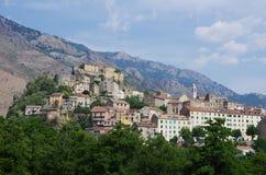 Den medeltida citadellen av Corte, Korsika royaltyfria foton