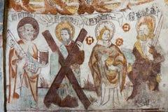Den medeltida freskomålningen av fyra apostlar i svensk kyrktar Royaltyfria Bilder