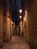 Den medeltida Gironaen vid natt, nordliga Spanien Royaltyfria Foton