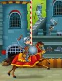Den medeltida illustrationen för tecknad film Royaltyfria Bilder