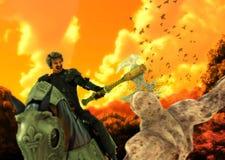 Den medeltida kavallerikrigarehästryggen dräpar monstret Royaltyfri Foto