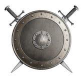 Den medeltida metallskölden med korsade svärd isolerade illustrationen 3d royaltyfri illustrationer