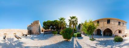 Den medeltida slotten i Larnaca. 360 grad panorama Arkivbild