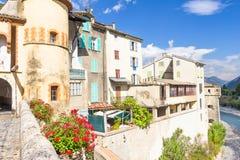 Den medeltida staden av Entrevaux, Frankrike arkivfoton