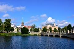 Den medeltida staden av den Schwerin Tyskland Arkivfoto