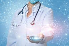 Den medicinska arbetaren visar symbolerna av kontakterna Royaltyfri Bild