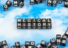 Den medicinska historien för ord Arkivbild
