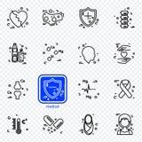 Den medicinska linjen symboler ställde in för informationsdiagram, websites och tryckmassmedia Arkivfoto