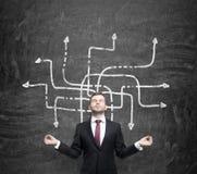 Den meditativa stiliga affärsmannen grubblar om möjliga lösningar av det invecklade problemet Många pilar med olik direc Arkivbild