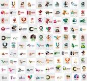 Den mega samlingen av geometriska abstrakta logomallar, symboler för affär för origamipappersstil med prövkopian smsar stock illustrationer