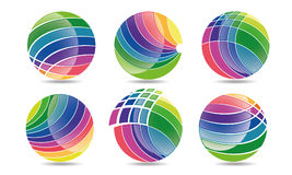 Den mega samlingen av sfärcirkellogoer, det globala beståndsdelaffärsföretaget och abstrakt begreppkorporationen rundade symbolss Royaltyfri Fotografi