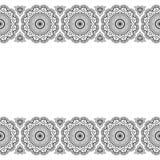 Den Mehndi Henna Indian linjen snör åt det blom- beståndsdelmodellkortet och tatuerar på vit bakgrund Arkivfoton