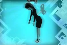 den mekaniska kvinnan 3d leker med den nyckel- illustrationen Arkivfoton