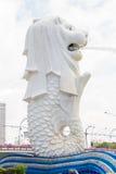 Den Merlion springbrunnen i Singapore arkivfoto