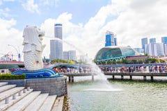 Den Merlion springbrunnen i Singapore royaltyfria foton