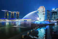 Den Merlion springbrunnen på natten arkivfoton