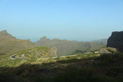 Den mest fantastiska, mest härliga och hisnande vägen till Mascaen, Tenerife, Spanien Royaltyfria Foton