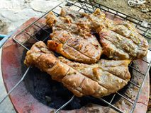 Den mest frasiga grisköttbuken i Bangkok arkivfoton