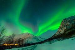 Den mest härliga natten av norrskenet royaltyfri bild