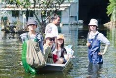 Den mest onda översvämningen i Nakhon Pathom, Thailand fotografering för bildbyråer