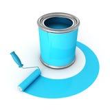 Den metalliska canen med blått målar, och rullen borstar Royaltyfri Foto