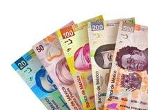 Den mexicanska pesoen fakturerar bakgrund Royaltyfria Foton