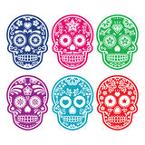 Den mexicanska sockerskallen, Diameter de los Muertos färgrika symboler ställde in Royaltyfria Foton
