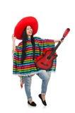 Den mexikanska gitarrspelaren för kvinna på vit Royaltyfri Bild