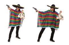 Den mexikanska hållande vapen- och pengarpåsen som isoleras på vit Royaltyfri Foto