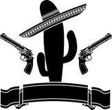 Den mexikanska kaktuns och två pistoler Royaltyfria Bilder