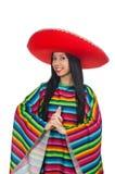 Den mexikanska kvinnan i roligt begrepp på vit Arkivbilder
