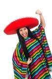 Den mexikanska kvinnan i roligt begrepp på vit Royaltyfri Foto