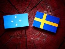 Den Micronesian flaggan med svensk sjunker på en trädstubbe arkivfoton