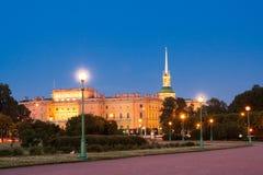 Den Mikhailovsky slotten, aka slotten för St Michael ` s eller teknikerer rockerar, St Petersburg, Ryssland En av de huvudsakliga Royaltyfria Bilder